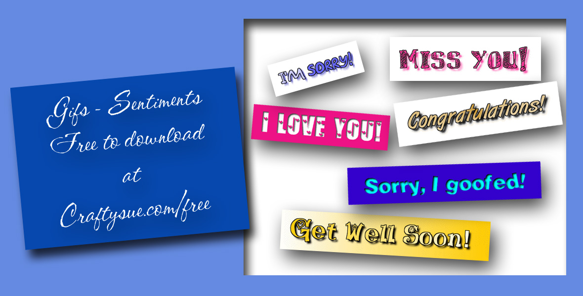 Gif and Animated Gifs banners expressing sentiments, free from craftysue.com